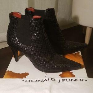 Donald J Pliner Black Leather High Heel Boots